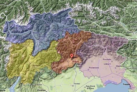 Provincia di Belluno con aree contermini -did