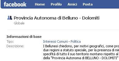 """Screenshot da Facebook del gruppo """"Provincia Autonoma di Belluno - Dolomiti"""""""