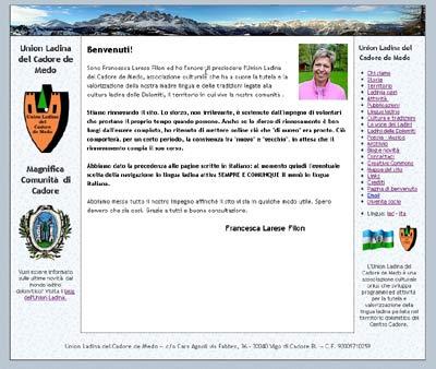 screen shot del sito
